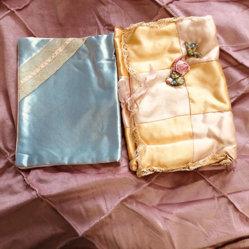 2 1920s FLAPPER SILK Ribbon Work-Bullion LACE HANKIE CASE & Satin & lace