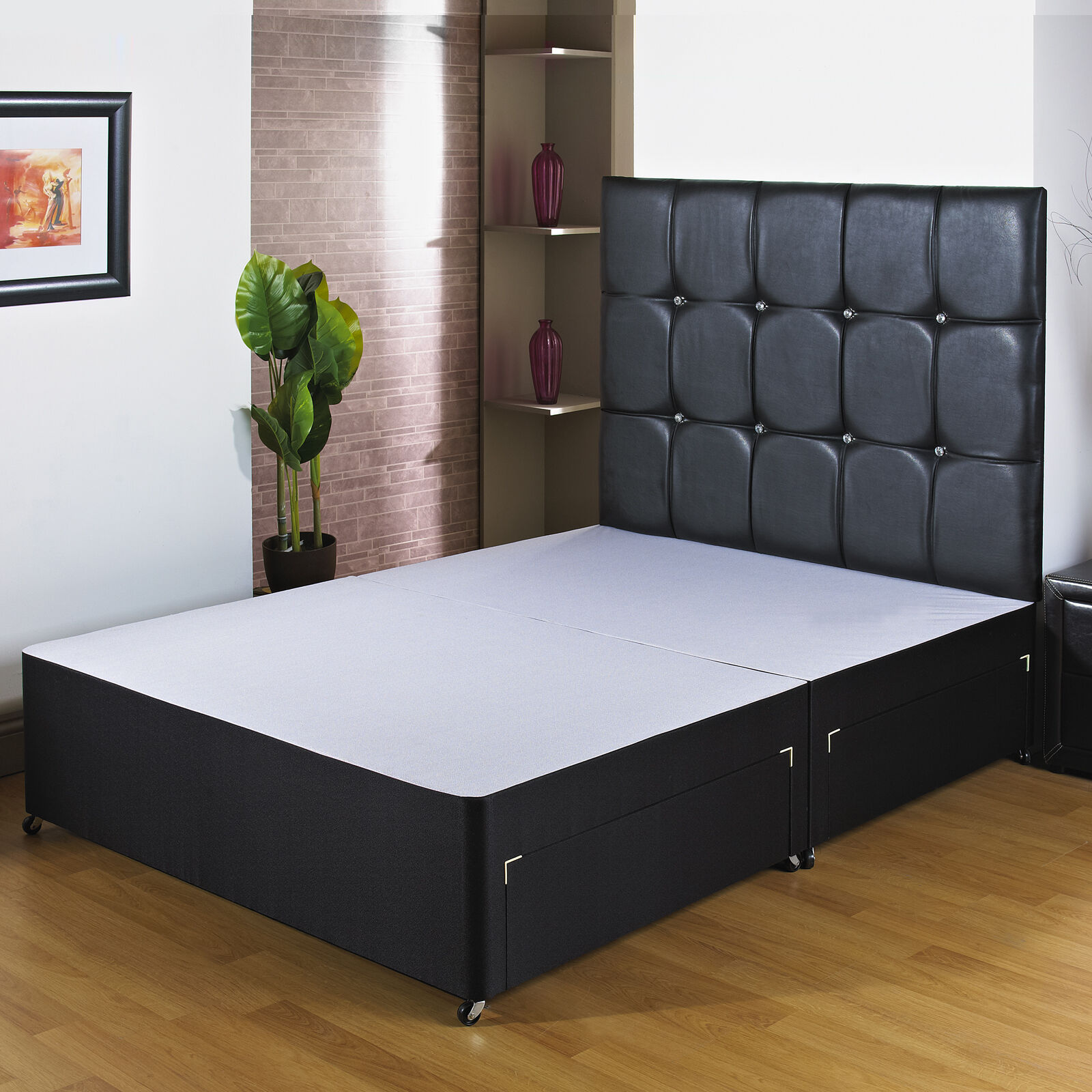 Free end drawer black divan bed base storage 3ft6 4ft for Divan only no mattress