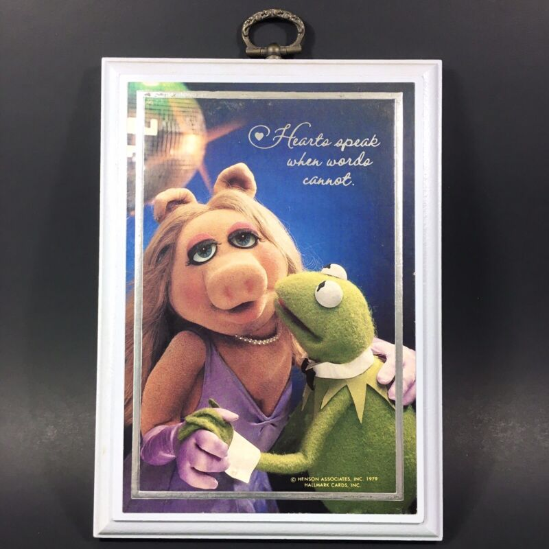 Vintage 1979 Hallmark Muppets Miss Piggy & Kermit Wall Plaque Decor Love/Hearts