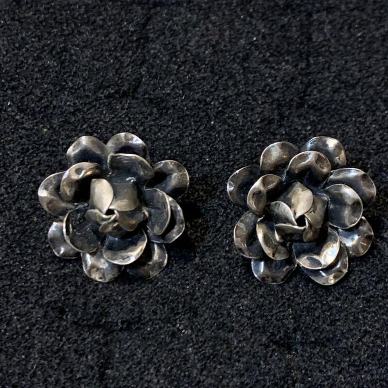 Vintage Sterling Silver Screwback Earrings Flowers Floral Signed stamped