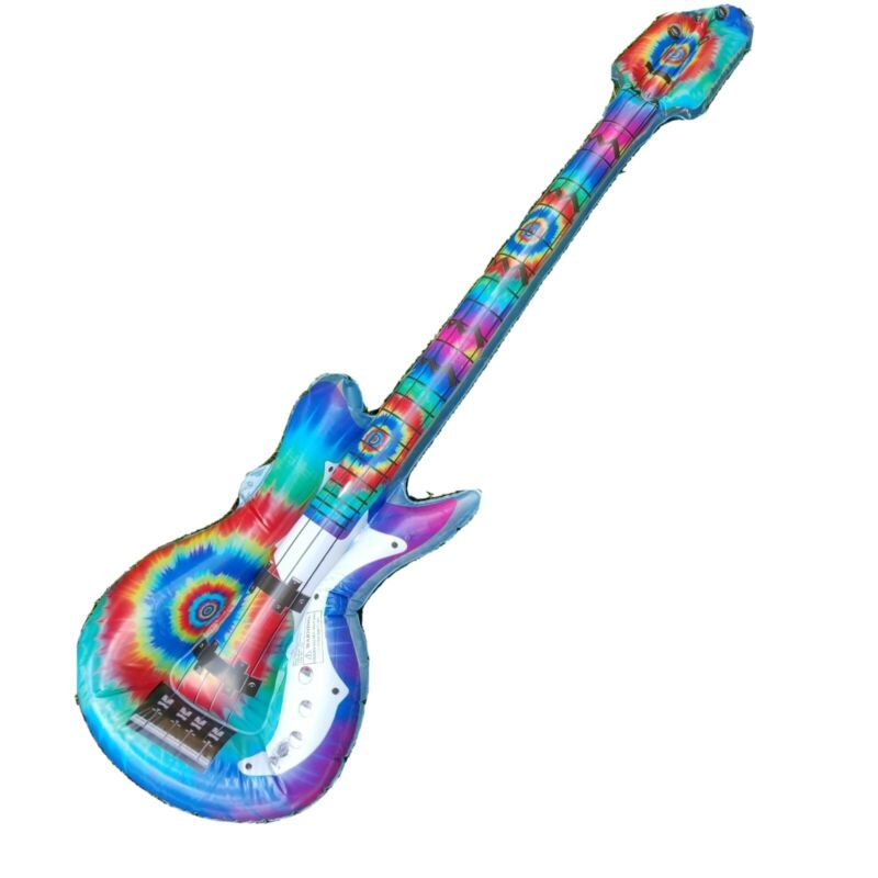 """Lot of 17 Inflatable Guitars Tie Dye 41"""" 7Pink 10 Blue Party Favor Rock Star New"""