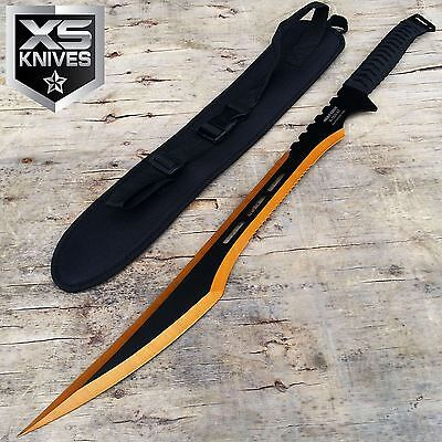 "27"" Titanium GOLD / BLACK Full Tang VIPER Machete Ninja Sword Katana w/ SHEATH"