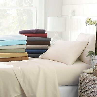 Egyptian Comfort 4 Piece Deep Pocket Bed Sheet Set - Hypoallergenic Wrinkle - Line Sheets