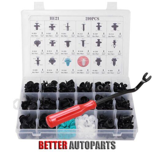 Car Parts - 299 Clip+Tool Car Body Retainer Push Pin Fastener Trim Panel Moulding Assortment