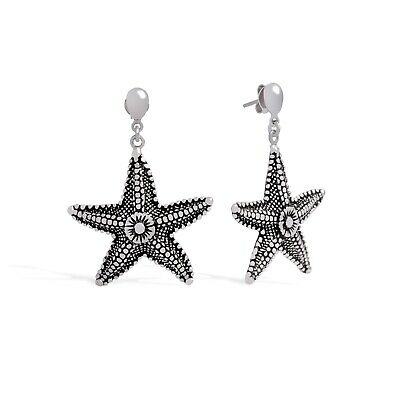 Starfish Earrings in White Gold Filled for Women, Fashion Nautical Jewelry