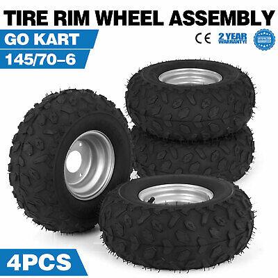 4X Go-kart ATV Tire with Wheel Assembly 145/70-6 Rim Go kart Mini Bike (Mini Atv Tires)