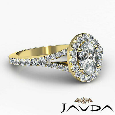 Halo Oval Natural Diamond Engagement Split Shank Prong Ring GIA F VVS2 1.21 Ct 9