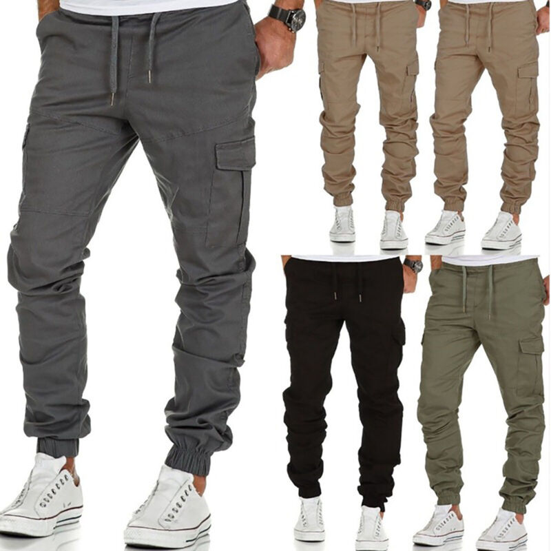 USA Men Casual Elastic Cotton Cargo Pants Jogger Trousers Tr