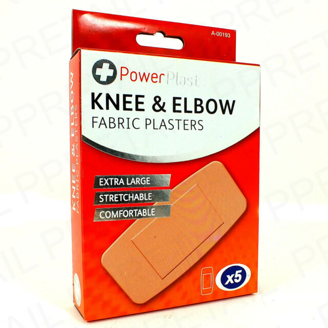 EXTRA LARGE KNEE & ELBOW FABRIC PLASTERS Flexible Joint Wound Cut Cover 5Pc Box