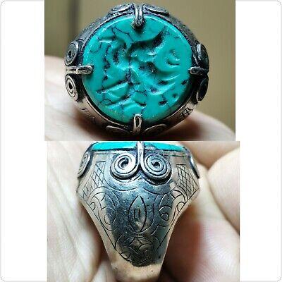Turquoise eagle birrd seal intaglio Beautiful Ring size 8     # 19