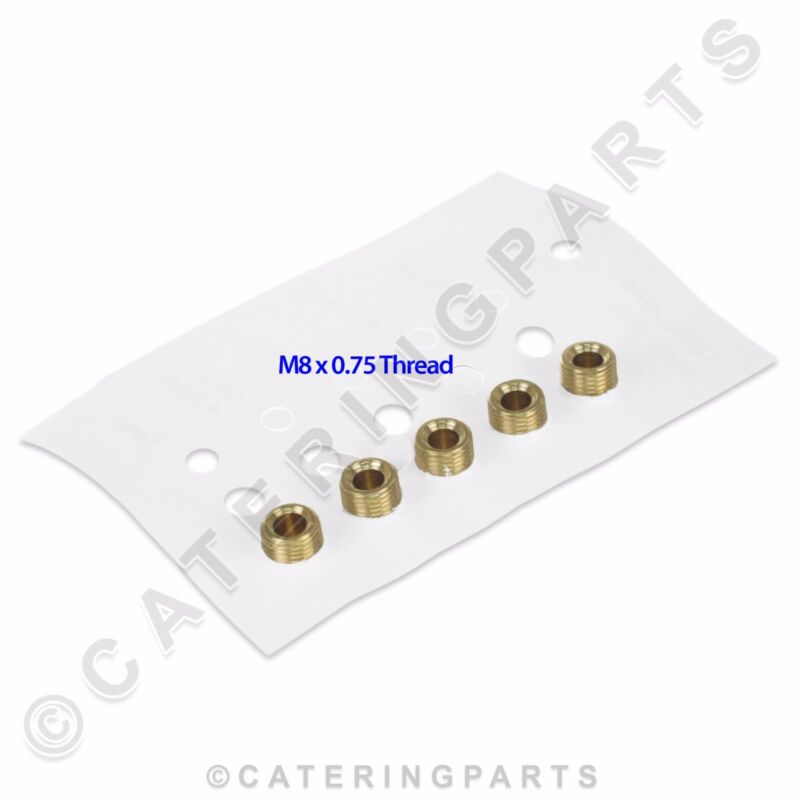 SET OF 5 x TECNOGAS LP LPG PROPANE GAS BURNER INJECTOR JET KIT THREAD M8 x 0.75
