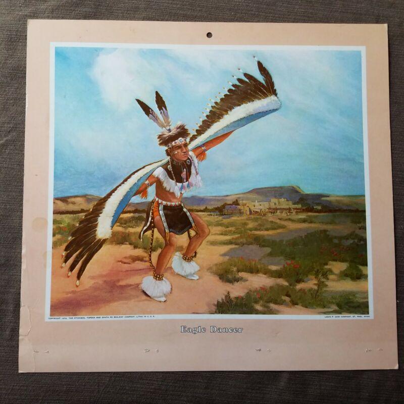 "Vintage 1958 Atchison, Topeka Santa Fe Railroad ""Eagle Dancer"" Calendar Top"