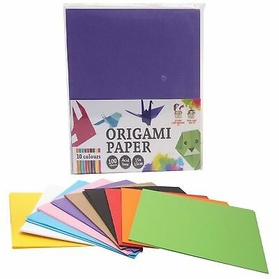 100 Sheets 15x15cm Assorted Colours Origami Folding Squares Paper Arts Crafts - Origami Crafts