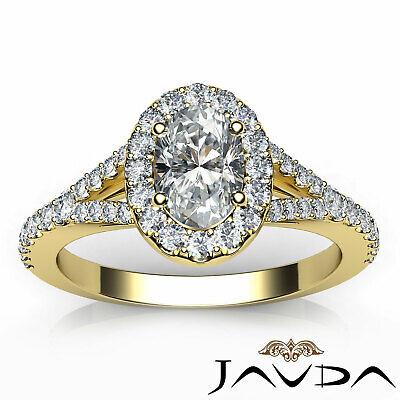 Halo Oval Natural Diamond Engagement Split Shank Prong Ring GIA F VVS2 1.21 Ct 10