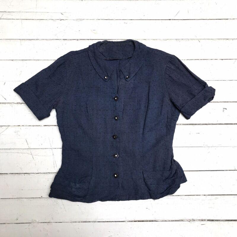 VTG 50s Blouse Top Dark Blue Rhinestone Buttons Pleated Pocket Short Sleeve M L
