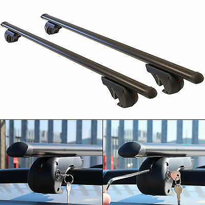 130cm Universal Fit Black Alloy Aero Locking Car Roof Bars Rack/Rails Bike/Box