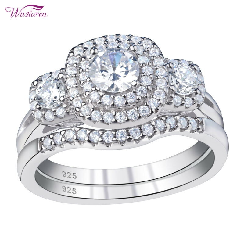 Wuziwen Wedding Band Engagement Ring Set For Women Round Cz 925 Sterling Silver