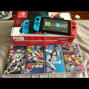 Nintendo switch full set + 6 Games + 64 gb Micro sd card