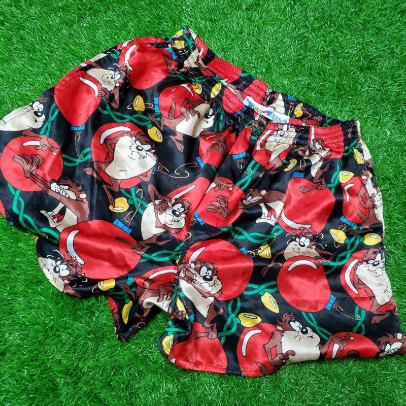 Vintage 1994 Looney Toon Taz Devil Christmas Silk Boxer Shorts Large