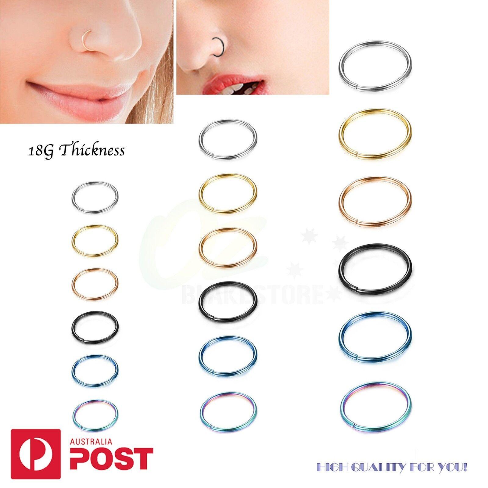 Jewellery - 2-8PCS 18G Nose Cartilage Ring Tragus Septum Surgical Steel Piercing Hoop 6-10mm