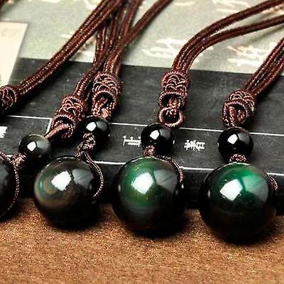 Natural Stone Black Obsidian Rainbow Eye Beads Ball Pendant Transfer Lucky Love