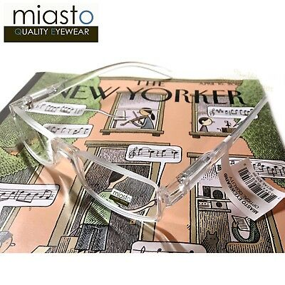 MIASTO TOP RIMLESS RECTANGLE HALF READER READING GLASSES+1.50 LARGE CLEAR (Large Rectangle Glasses)