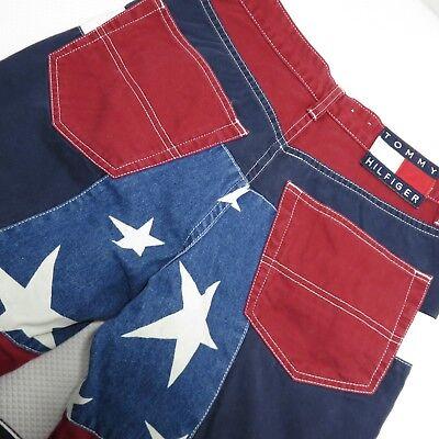 Vtg Tommy Hilfiger 7 TH All Over Flag Red White Blue Flare Jeans Stars Stripes