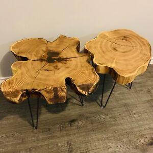 DEAL: PAIR of Live Edge Coffee Side Tables