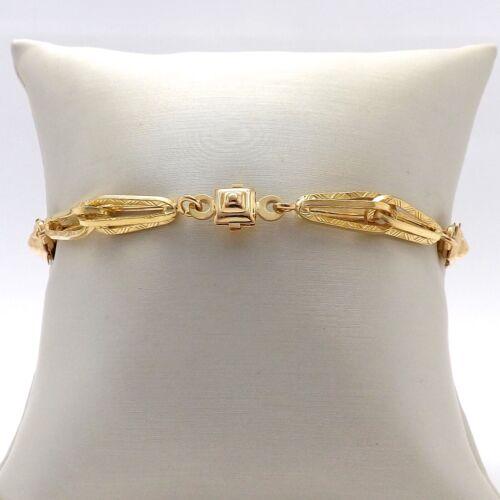 Vintage 18K Gold 750 Italy Fancy Link Ornate Bracelet