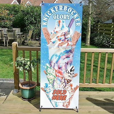 KNICKERBOCKER GLORY For Sale  ICE CREAM BANNER DISPLAY SYSTEM Free Standing Sign