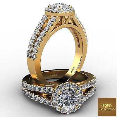 U Cut Prong Set Split Shank Halo Round Diamond Engagement Ring GIA F SI1 1.47Ct