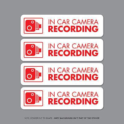 SKU2299 - Set Of Four In Car Camera Recording Car Sign Sticker - CCTV - Dashcam