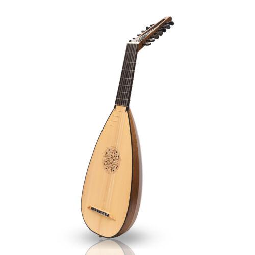 New Muzikkon 7 Course Travel Lute Walnut Left Handed Inc.Bag & Extra String Set