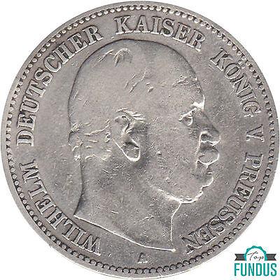 Preußen König Wilhelm I. 2 Mark 1876 A J.Nr. 96 s-ss Silbermünze (217)