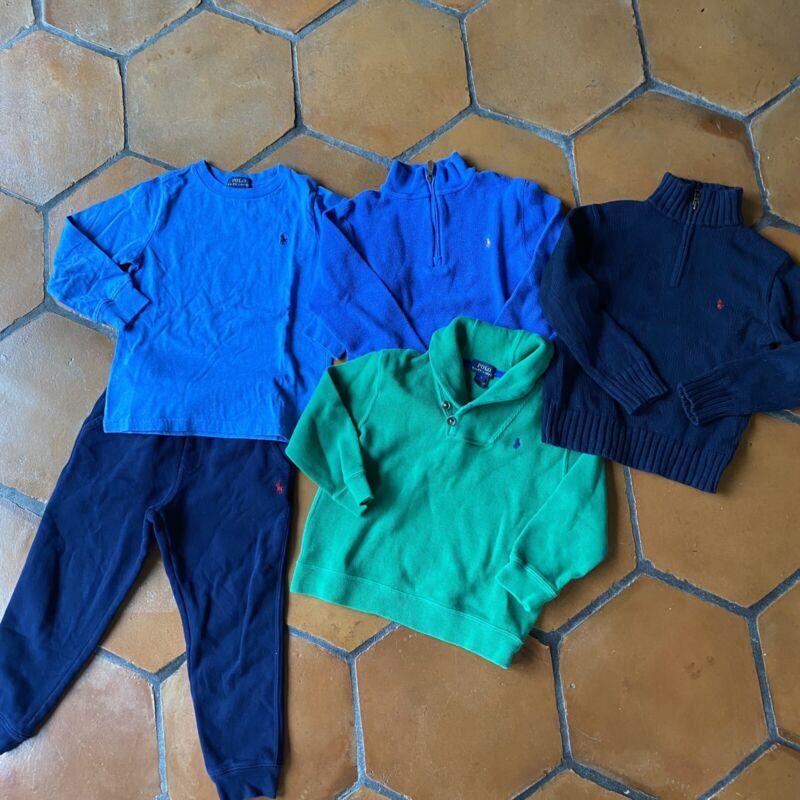 POLO Ralph Lauren Shirt Sweaters Pants 5 Piece Lot Boys Size 5 6 EUC
