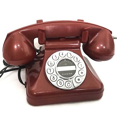 Vintage Cicena Savoy Red Push Button Corded Phone Old School Handset Cradle Dial