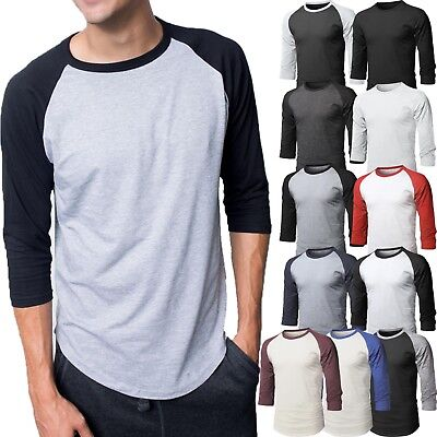 (Mens Baseball RAGLAN T-Shirts 3/4 Sleeve Tee Plain Team Sport Jersey Solid)
