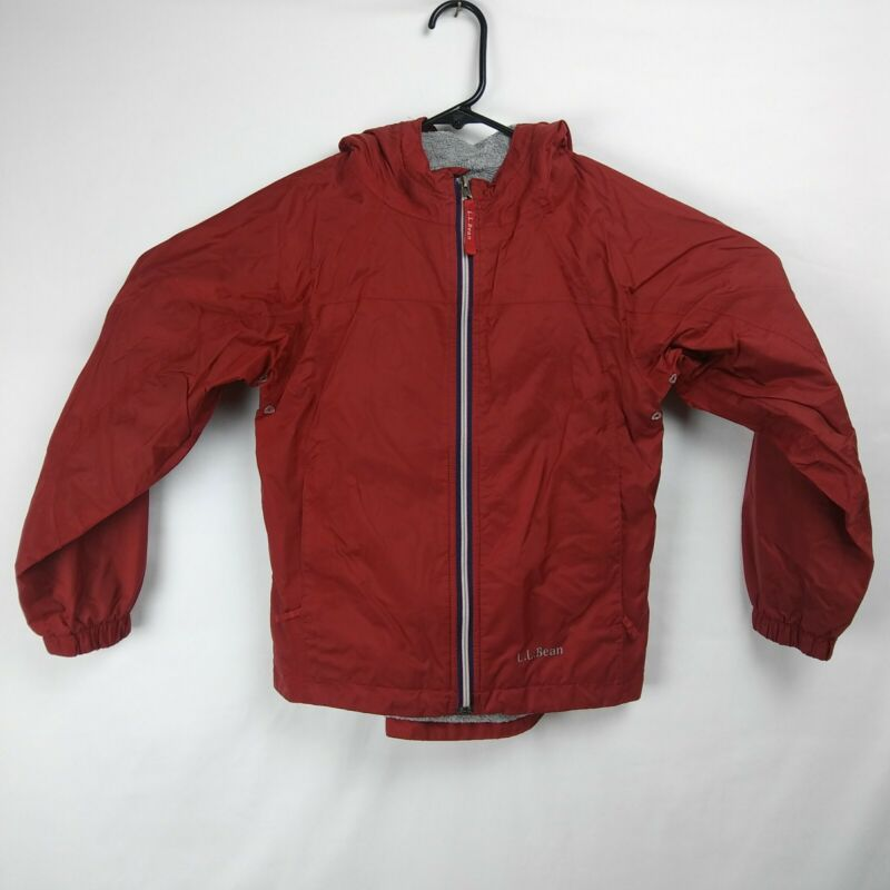 L.L. BEAN Zip Up Hooded Jacket Lined Maroon Youth Boys Size 8