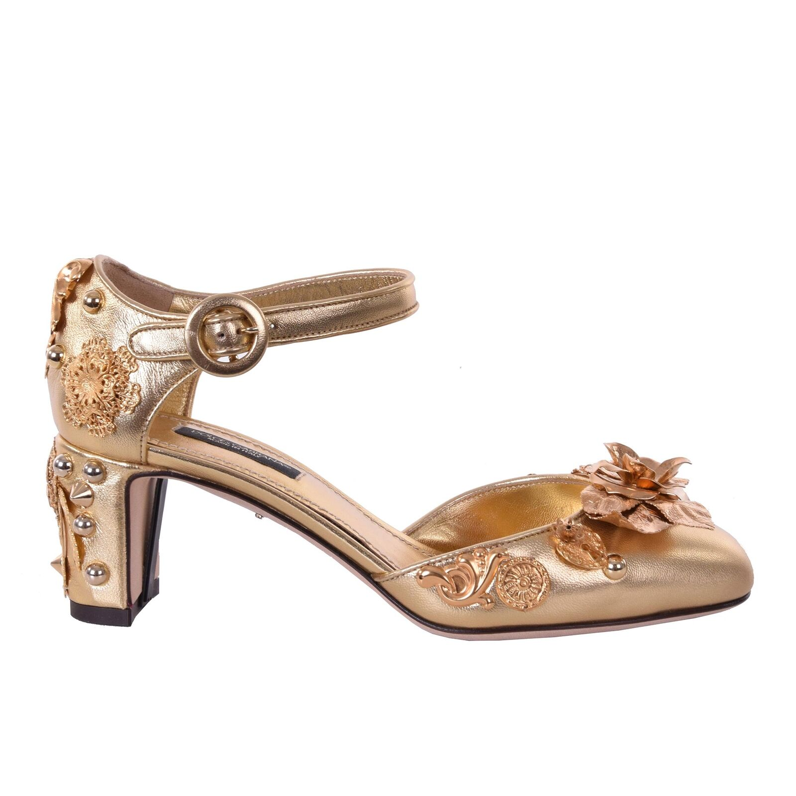 DOLCE /& GABBANA Jewelled Floral Nappa Leather Baroque Pumps Heels Gold 06727