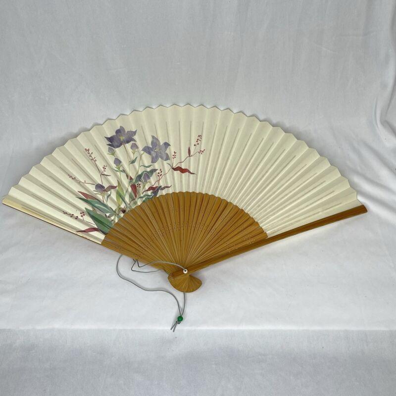 Japanese Flowers Folding Hand Fan Wood Handle Vintage