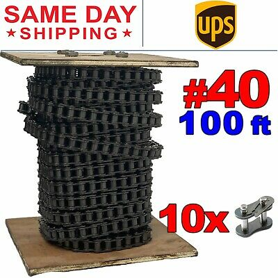 40 Roller Chain X 100 Feet 10 Connecting Links Same Day Expedited Shipping
