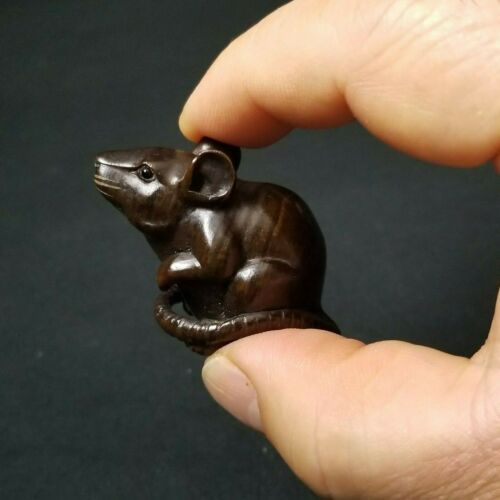 "Japanese Wood Netsuke "" Rat ""by Yoshitoshi Late Meiji Era"
