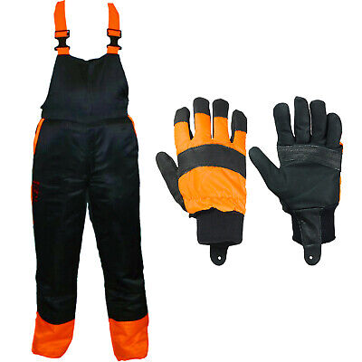 Chainsaw Bib Brace Large 34/38 Class A 20m/s + Forestry Safety Gloves Protective