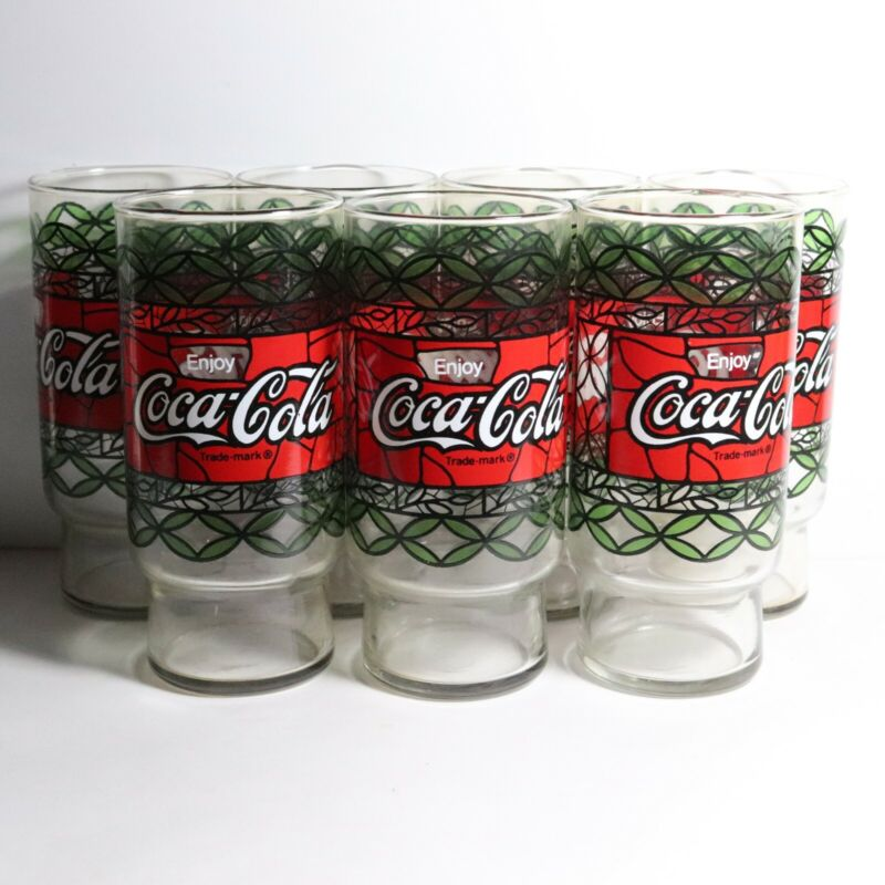 Vintage Enjoy Coca-ColaTiffany Style Stained Glass Drinking Glasses -Set of 7