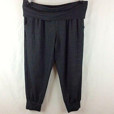 Jersey Yoga Capri Pant (Ideology Womens Fold-Over Waist Capri Pant Medium Gray Black Jersey Knit Yoga)