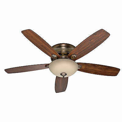"Hunter 52"" Low Profile Flush Mount Ceiling Fan Brushed"