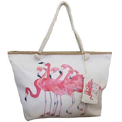 amingos Rosa Vögel Leinwand / Segeltuch Leine Großer Shopper (Große Rosa Vogel)