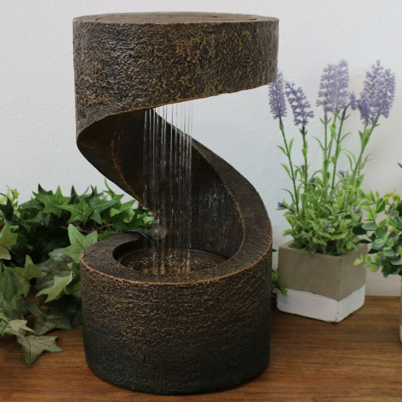 """Sunnydaze Winding Showers Tabletop Water Fountain Feature with LED Light - 13"""""""