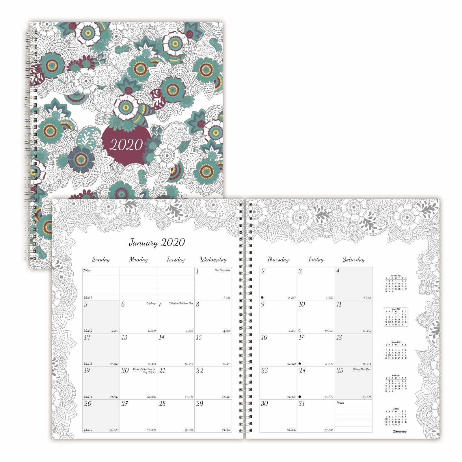 Blueline Doodleplan Monthly Coloring Planners  C2921.01