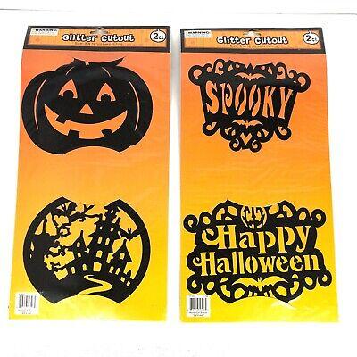 Halloween Decorations For Pumpkins (NEW Halloween Glitter Cutout Decal Decorations Perfect For Pumpkins LOT OF 2)